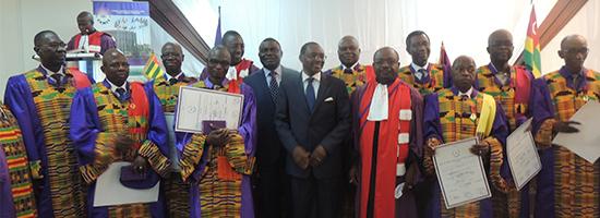 Réception des enseignants togolais et d'un Ministre honoraire burkinabè en charge de l'enseignement supérieur dans l'Ordre International des Palmes Académiques (OIPA) du CAMES